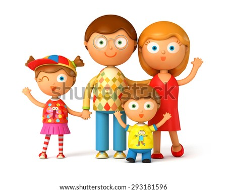 Happy family, posing together. Isolated on white background. 3d render - stock photo