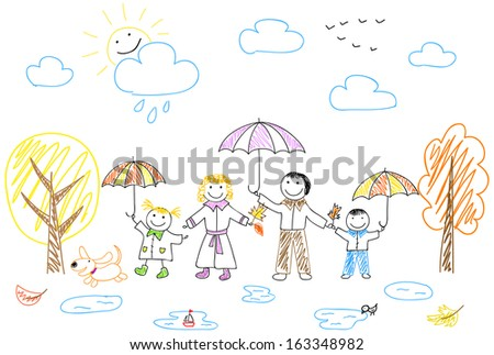 Happy family. Rasterized version of vector illustration - stock photo