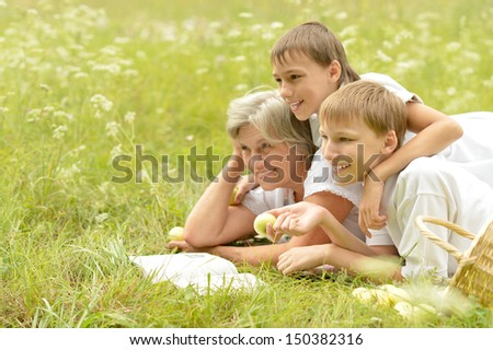 Happy family resting on a sunny summer day