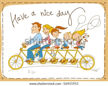 Happy family riding a tandem bicycle - stock photo