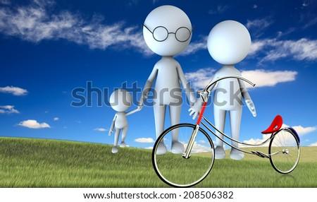 happy family scene outdoors - stock photo