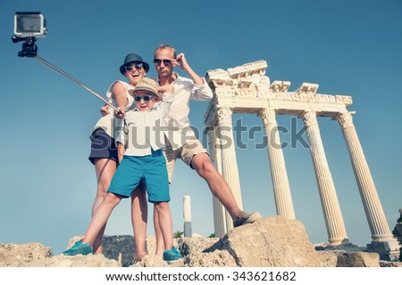 Happy family selfie travel photo cropping for share in social network. Temple of Apollo,Side,Turkey - stock photo