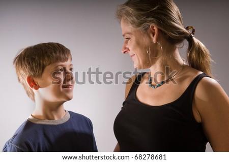 Happy family - single mom and her boy - stock photo