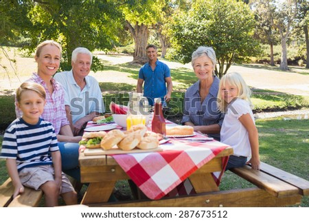 Happy family smiling at the camera on a sunny day - stock photo
