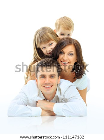 Happy family smiling. Isolated over a white background - stock photo