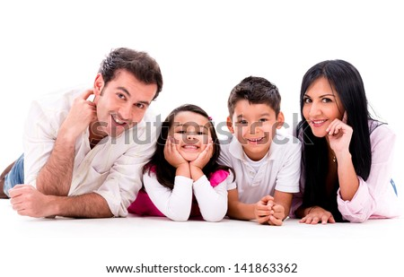 Happy family smiling - isolated over a white background - stock photo