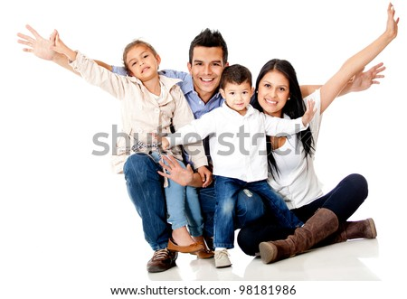 Happy family smiling with arms up - isolated over a white background - stock photo