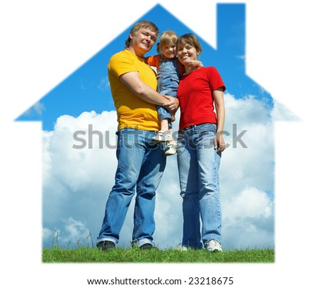happy family stand in house on green grass under sky with clouds - stock photo