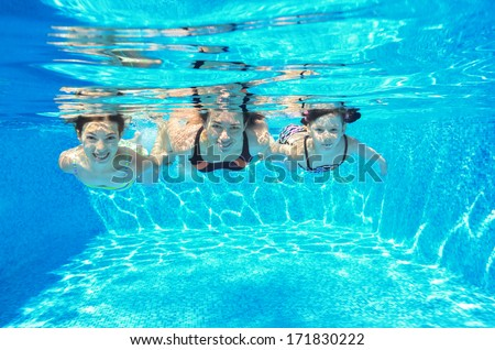 Happy Family Swim Underwater In Pool And Having Fun, Mother And Children On  Vacation, Part 98