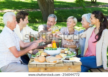 Happy family toasting in the park on a sunny day - stock photo