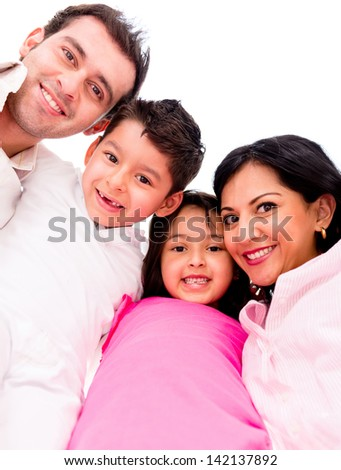 Happy family together in a circle - isolated over white background - stock photo