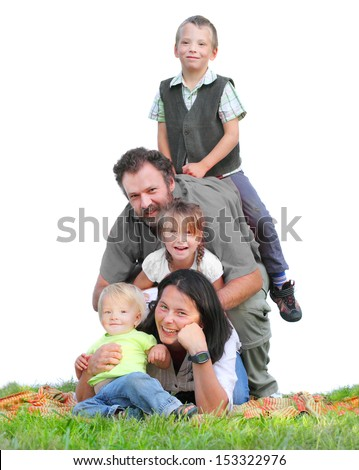 Happy family together on the grass against white background.