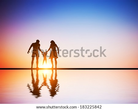 Happy family together, parents and their child at sunset, water reflection.  - stock photo