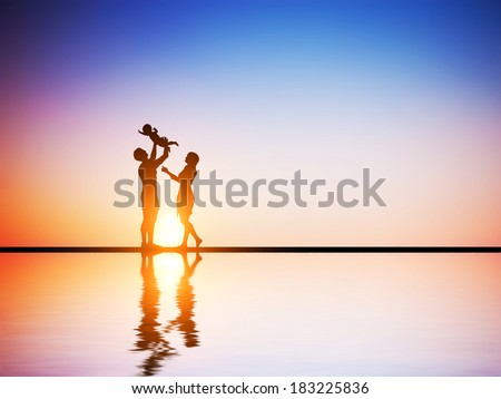 Happy family together, parents celebrating their little child at romantic sunset. Birth, mother, father concepts  - stock photo