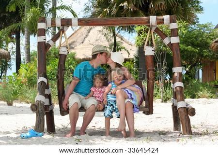 Happy family vacation - stock photo
