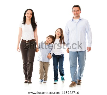 Happy family walking - isolated over a white background - stock photo