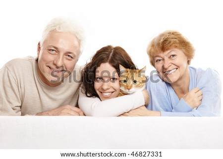 Happy family with a cat on a white background