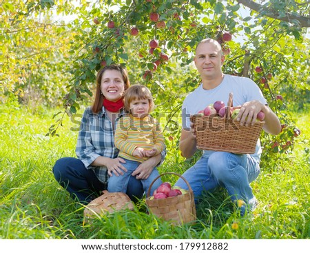 Happy  family  with apple harvest in orchard - stock photo