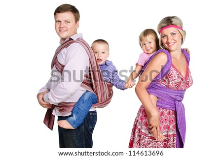 happy family with babies 3-4 years old in slings isolated on white background - stock photo