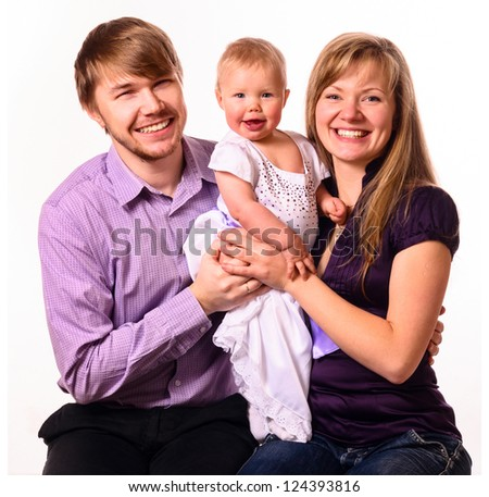 happy family with baby on white background