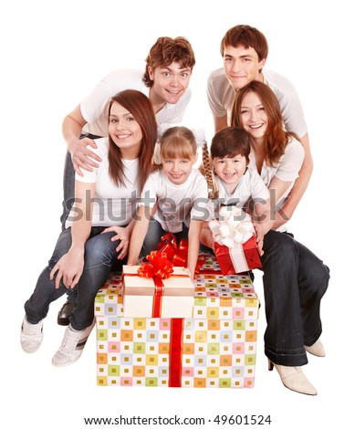 Happy family with big gift box. Isolated.