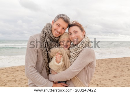 happy family with child daughter girl smiling - stock photo