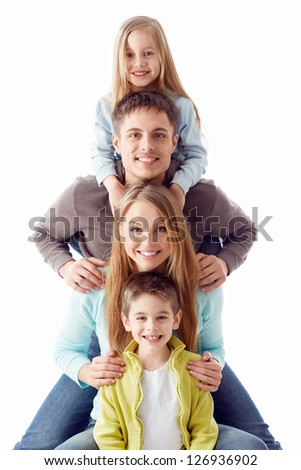 Happy family with children on a white background - stock photo
