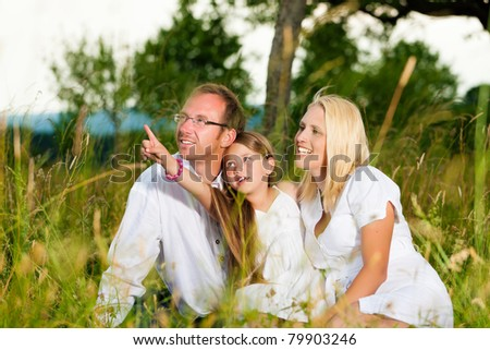 Happy family with daughter girl sitting in a meadow in summer - stock photo