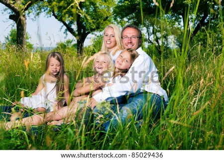 Happy family with daughter girls sitting in a meadow in summer - stock photo
