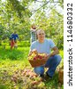 Happy family with  harvested apples in garden - stock photo