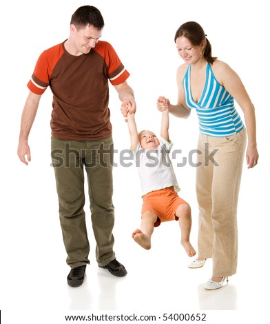 Happy Family with kid together isolated on white - stock photo