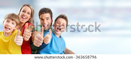 Happy family with kids  - stock photo
