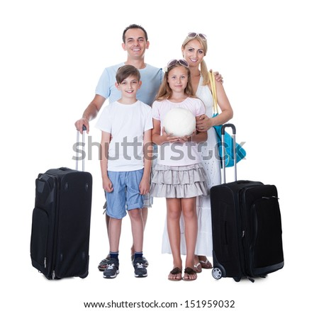 Happy Family With Luggage Going For Vacation Isolated On White Background - stock photo