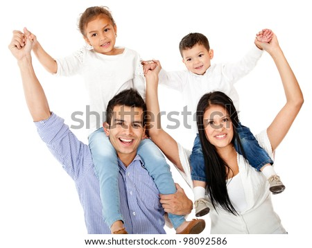 Happy family with parents carrying children on shoulders - isolated - stock photo
