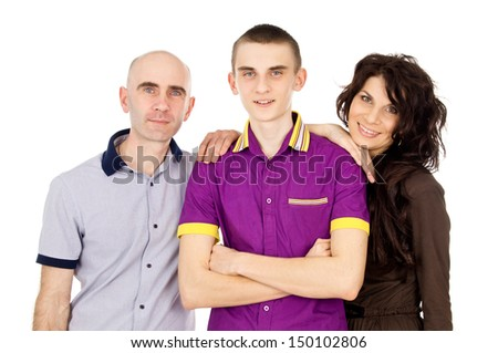 happy family with son teens - stock photo