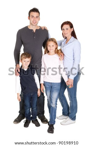 Happy family with their children. Isolated on white - stock photo