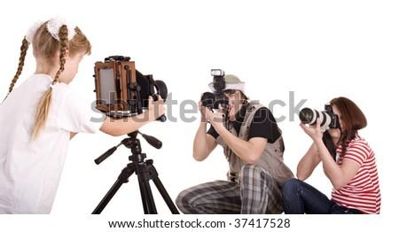 Happy family with three camera. Isolated. - stock photo