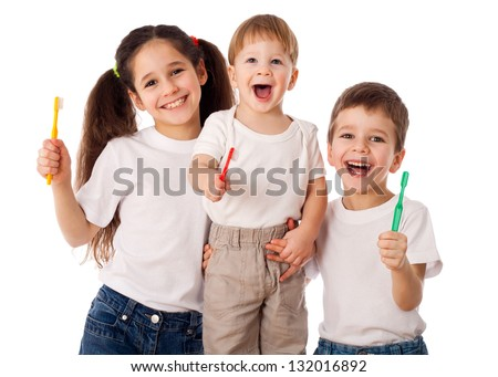 Happy family with toothbrushes, isolated on white - stock photo