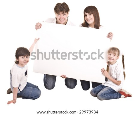 Happy family with white banner.Isolated.