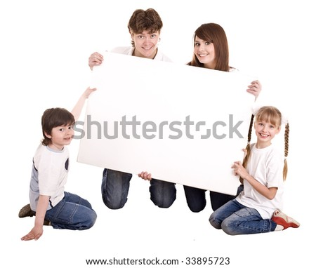 Happy family with white banner.Isolated. - stock photo