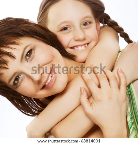 happy family, young beautiful mother and her little daughter - stock photo