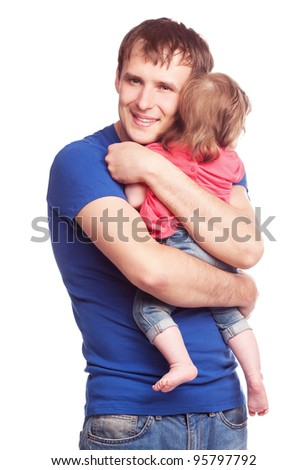 happy family; young father and his daughter isolated against white background - stock photo