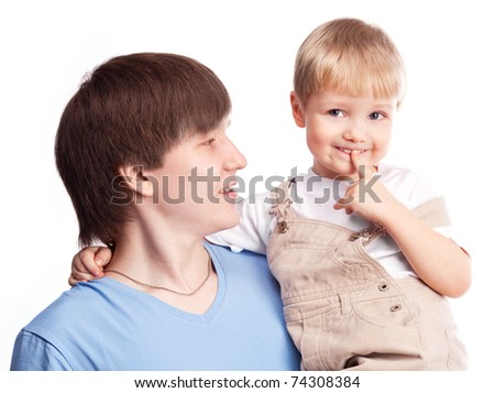 happy family, young father and his four year old son