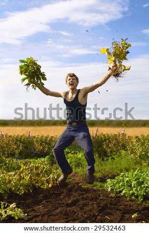 Happy farmer. - stock photo