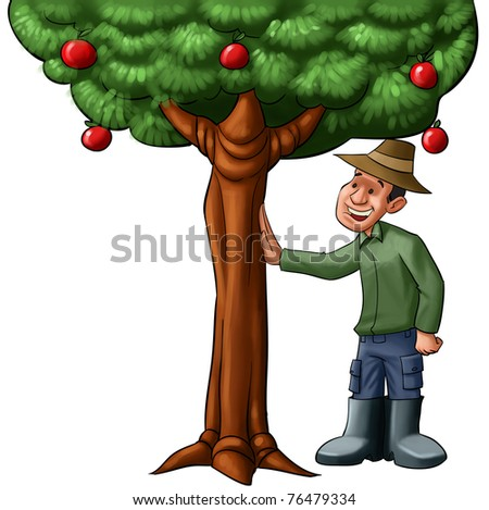 happy farmer going to watch his tree full of fruits - stock photo