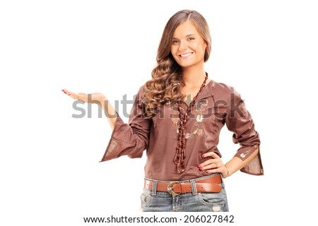 Happy fashionable female gesturing with hand isolated on white background - stock photo