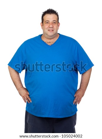 Happy fat man isolated on white background - stock photo