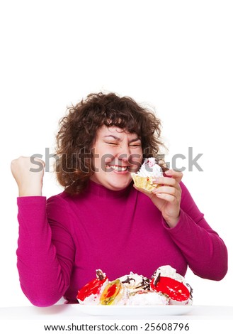 happy fat woman eating pastry with pleasure - stock photo