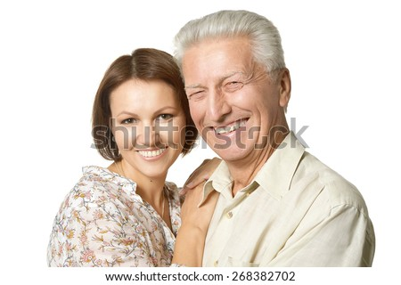 Happy father and daughter on black background - stock photo
