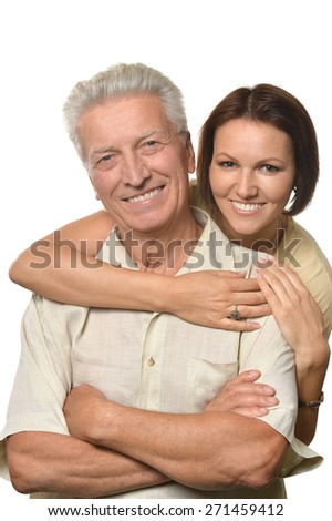 Happy father and daughter on white background - stock photo